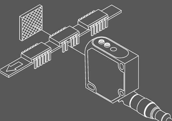 Aanwezigheidscontrole tellen van pinnen met lasersensor - SensoPart