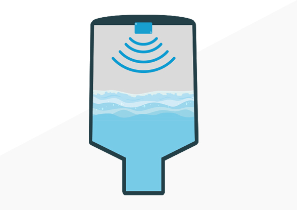 Niveaumeting van vaste stoffen en vloeistoffen met ultrasone niveausensor