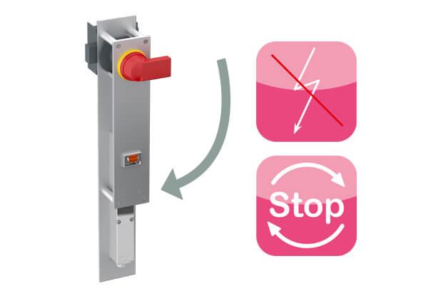 Vermogensschakelaar voor interlocks en interlock systeem