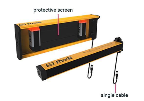 Muting-armen met enkele connector en beschermingsplaat - ReeR Safety
