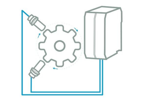 Toerentalbewaking met twee inductieve sensoren - ReeR Safety